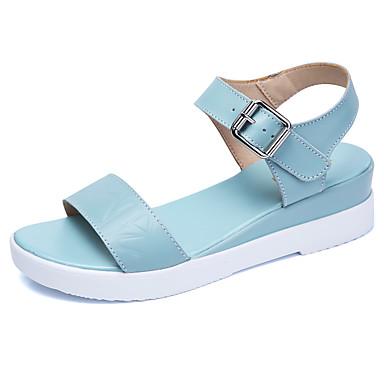 Dámské Boty Kůže Léto Sandály Chůze Platforma Creepers S otevřeným palcem pro Bílá Béžová Světle modrá