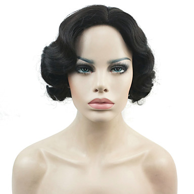 Synthetic Wig Wavy Synthetic Hair Black / White / Brown Wig Women's Short Capless