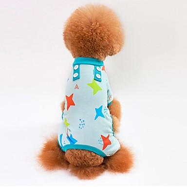 Gato Cachorro Camiseta Moletom Macacão Pijamas Calças Roupas para Cães Estrelas Cinzento Azul Rosa claro Algodão Ocasiões Especiais Para