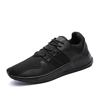Miesten kengät Tyll Kesä Syksy Valopohjat Comfort Urheilukengät Kävely Tarranauhalla varten Kausaliteetti Valkoinen Musta Musta/valkoinen