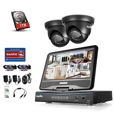 sannce® 4ch dvr kity bezpečnostní systém s 2 720p dome kamerou s 1tb hdd