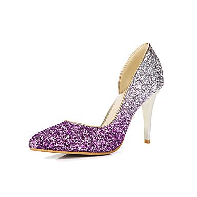 女性用 靴 グリッター 春 夏 ヒール スティレットヒール ポインテッドトゥ スパンコール のために カジュアル パーティー ゴールド シルバー パープル バーガンディー