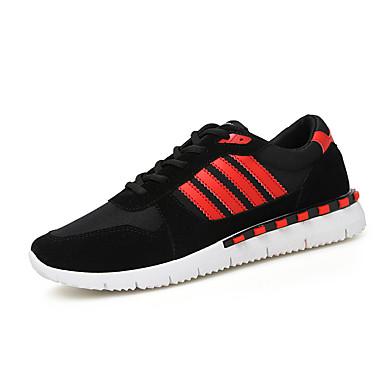 Homens sapatos Couro Ecológico Primavera Verão Conforto Tênis Corrida Cadarço para Atlético Casual Ao ar livre Branco Vermelho Azul