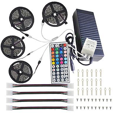 billige LED Strip Lamper-kwb ledet lys stripsett ikke-vanntett 20m (4 * 5m) 5050 rgb 600 leds strip lys med 44key ir fjernkontroll sett og 12v 10a eu / us / au / uk strømforsyning med et sett monteringsbrakett