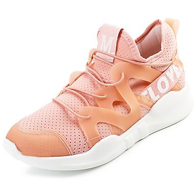 Mulheres Sapatos Couro Ecológico Primavera Verão Tênis Salto Baixo para Branco Preto Verde Rosa claro