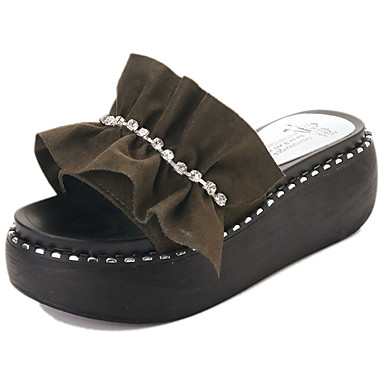 Mulheres Sapatos Couro Ecológico Primavera Verão Conforto Sandálias Sem Salto Dedo Aberto Pedrarias Pérolas Sintéticas Fru-Fru para Social