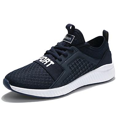 Homens sapatos Couro Ecológico Primavera Outono Conforto Tênis Caminhada Cadarço para Atlético Preto Cinzento Azul