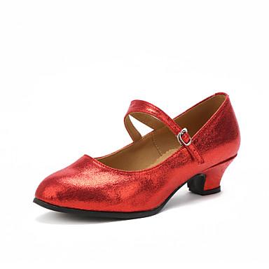 Women's Modern Shoes Heel Customized Heel Customizable Dance Shoes Black / Silver / Red / Indoor