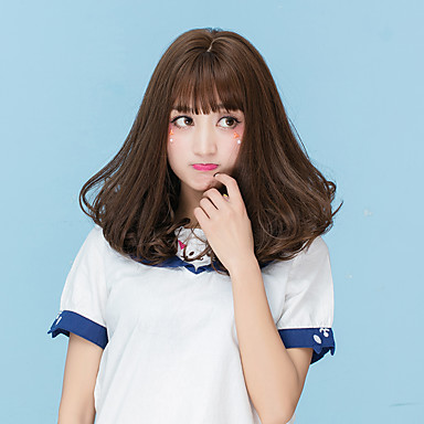 Synthetic Wig Natural Wave With Bangs Synthetic Hair Brown / Gray Wig Women's Medium Length Capless Ash Brown