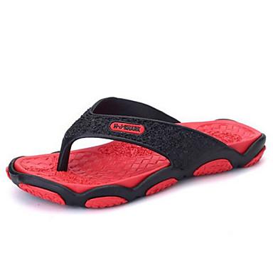 Miehet kengät PU Kevät Comfort Tossut & varvastossut Käyttötarkoitus Kausaliteetti Musta/punainen Musta/Vihreä Hopea/musta