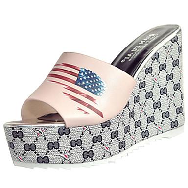 Mulheres Sapatos Couro Ecológico Verão Conforto Sandálias Salto Plataforma para Ao ar livre Branco Preto Rosa claro