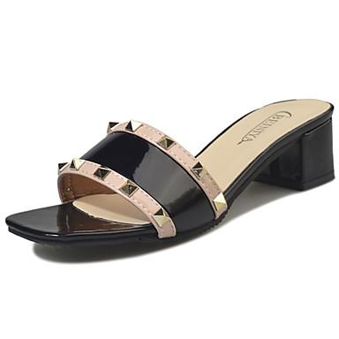 Mulheres Sapatos Couro Ecológico Verão Sandálias Caminhada Salto de bloco Dedo Aberto para Branco Preto