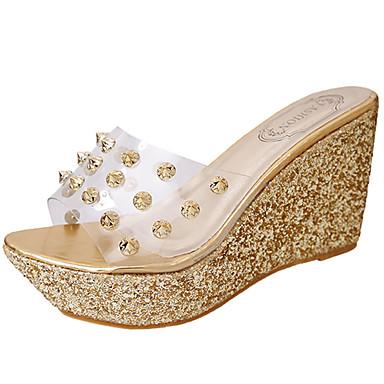 voordelige Damessandalen-Dames Slippers & Flip-Flops Wedge Heel Flip-Flops Sleehak Open teen  Kralen PU Wandelen Zomer Goud / Zilver
