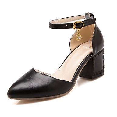 Mujer Zapatos Semicuero / PU Primavera / Verano Confort / Innovador Tacones Paseo Tacón Cuadrado / Talón de bloque Dedo Puntiagudo Hebilla lsvhsjMU5p