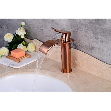 Moderne Mittellage Keramisches Ventil Einhand Ein Loch for  Rotgold , Waschbecken Wasserhahn