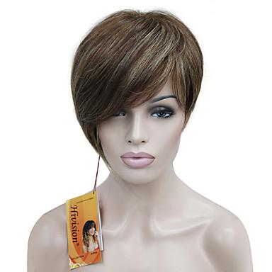 Sentetik Saç peruk Düz Asimetrik Saç Kesimi Bantlı Bonesiz