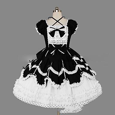 Gótica / Doce Mulheres / Para Meninas Vestidos Cosplay Concha Manga Curta Curto / Mini