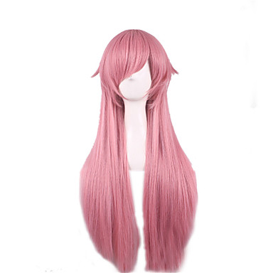 Synthetic Wig Straight Asymmetrical Haircut Synthetic Hair Natural Hairline Pink Wig Women's Long Capless