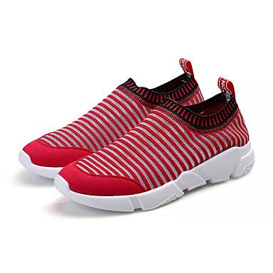 Homens sapatos Tule Verão Conforto Mocassins e Slip-Ons Caminhada Preto / Vermelho