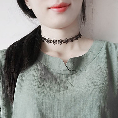 Women's Single Strand Choker Necklace - Lace Unique Design, Classic, Basic Black Necklace Jewelry For Birthday, Daily, Casual