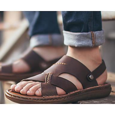 Miehet Sandaalit Comfort Kevät PU Kausaliteetti Musta Ruskea Tasapohja
