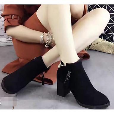 Naiset Kengät Mokkanahka Kevät Comfort Bootsit Käyttötarkoitus Kausaliteetti Musta