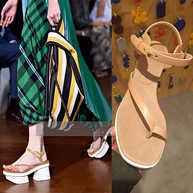 Damen Schuhe PU Frühling Creepers Sandalen Blockabsatz Für Normal Mandelfarben