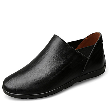Herren Schuhe PU Sommer Herbst Komfort Leuchtende Sohlen Loafers & Slip-Ons für Normal Schwarz Gelb Hellbraun
