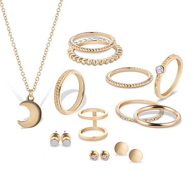 Mulheres Strass Prata Chapeada Rosa Folheado a Ouro Conjunto de jóias - Original Formato Circular Dourado Prata Conjunto de Jóias Para