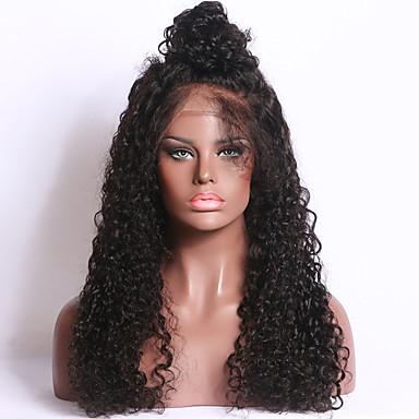 Naisten Aitohiusperuukit verkolla Aidot hiukset Full Lace 150% Tiheys Kihara Peruukki Musta Keskikokoinen Pitkä Luonnollinen hiusviiva