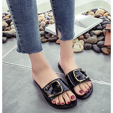 Damen Schuhe PU Frühling Komfort Slippers & Flip-Flops Für Normal Weiß Schwarz
