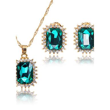 Mulheres Zircônia cúbica Zircônia Cubica Conjunto de jóias 1 Colar 1 Par de Brincos - Clássico Quadrado Euramerican Fashion Adorável