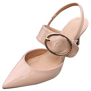 Mulheres Sapatos Couro Ecológico Verão Conforto Sandálias Salto Agulha para Ao ar livre Rosa claro Amêndoa