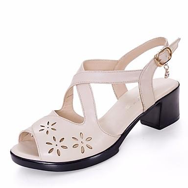 Naiset Kengät PU Kesä Comfort Sandaalit Tasapohja Käyttötarkoitus Kausaliteetti Valkoinen Musta Punainen