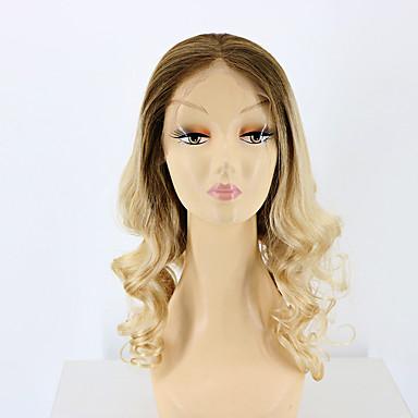 billige Blondeparykker med menneskehår-Remy Menneskehår Helblonde Parykk stil Brasiliansk hår Løse bølger Nyanse Parykk 130% Hair Tetthet med baby hår Ombre-hår Naturlig hårlinje Afroamerikansk parykk 100 % håndknyttet Nyanse Dame Kort