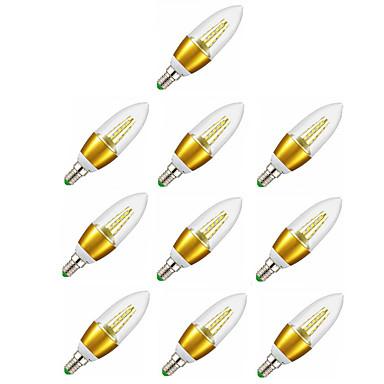10pcs 6W 600-650lm E14 أضواء شموغ LED C35 35 الخرز LED SMD 2835 ديكور أبيض دافئ 220-240V