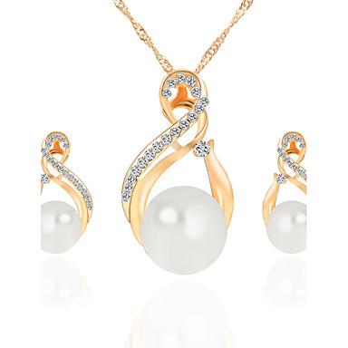 Mulheres Conjunto de jóias - Cristal, Imitação de Pérola, Strass Caído, Infinidade Luxo, Pingente, Pérola Incluir Colar / Brincos / Sets nupcial Jóias Dourado / Prata Para Presentes de Natal