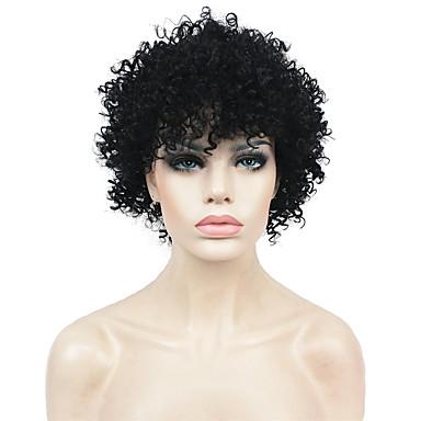 Cabelo Sintético perucas Crespo Cacheado Peruca Afro Americanas Peruca Natural Curto Preto Natural