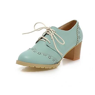 Mulheres Sapatos Couro Ecológico Courino Sintético Primavera Outono Inovador Conforto Oxfords Caminhada Salto Robusto Ponta Redonda