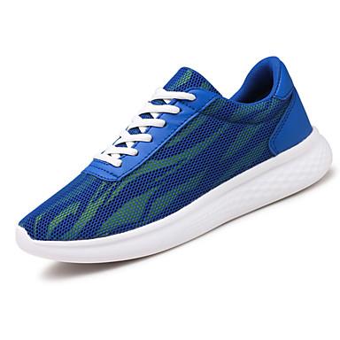 Homens sapatos Tule Primavera Outono Conforto Tênis Caminhada Cadarço para Atlético Preto Azul