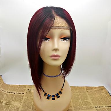 Remy vlasy Se síťkou Paruka Volný 130% Hustota 100% ručně vázaná Afroamerická paruka Přírodní vlasová linie Ombre vlasy Krátký Střední