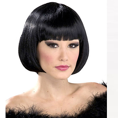 Synthetic Wig Straight Bob Haircut / With Bangs Synthetic Hair Black Wig Women's Short Capless