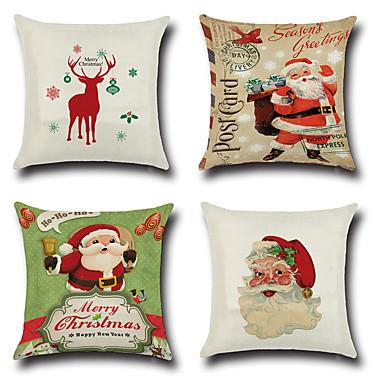 4 pcs Cotton / Linen Pillow Cover / Pillow Case, Novelty / Fashion / Christmas Retro / Traditional / Classic / Euro