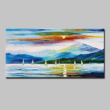 Ručně malované Krajina Horizontální, evropský styl Moderní Plátno Hang-malované olejomalba Home dekorace Jeden panel