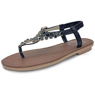 Naiset Sandaalit Comfort Kesä PU Kävely Kausaliteetti Puku Glitterillä Tasapohja Musta Hopea Tasapohja