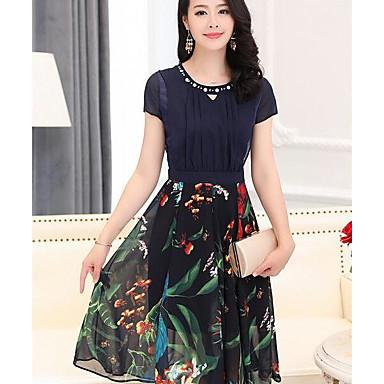 Damen A-Linie Kleid Sexy Solide Galaxis Rundhalsausschnitt Knielang Kurzarm Polyester Sommer Mittlere Hüfthöhe Mikro-elastisch Mittel