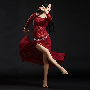 Dança do Ventre Roupa Mulheres Treino Renda Lantejoulas Manga 3/4 Caído Vestido Cinto Calções