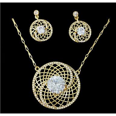 Dámské Sady šperků imitace drahokamu Rozkošný Svatební Párty Výročí Narozeniny Štras Slitina Kulatý 1 x náhrdelník 1 x pár náušnic