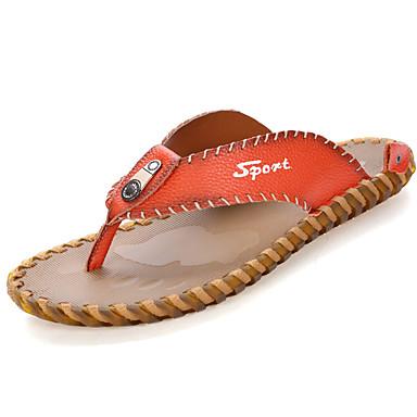Men's PU(Polyurethane) Spring / Summer Comfort Slippers & Flip-Flops Walking Shoes White / Black / Orange