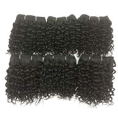 6pcs / lot 8-26inch Brasilian neitsyt syvä kiharat hiukset luonnollinen musta aaltoileva ihmisen hiukset kutoo